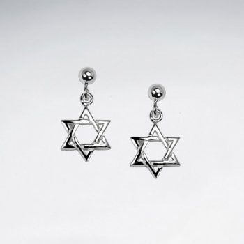 Sterling Silver Star of David Openwork Dangle Earrings