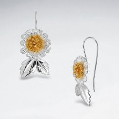 Sterling Silver Sunflower with Leaf Hook Earrings