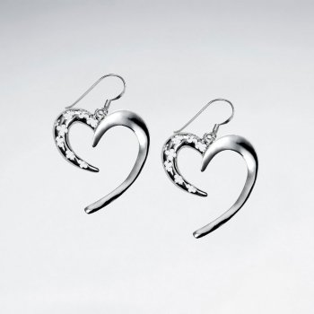 Sterling Silver Sweeping Partial Open Heart Dangle Earrings