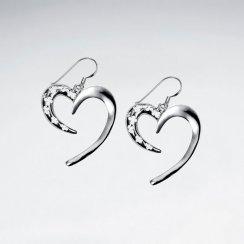 Sterling Silver Sweeping Partial Open Heart Dangle Earrings