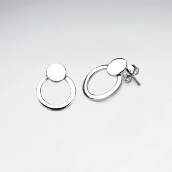 Sterling Silver Teardrop Circle Silhouette Stud Earrings