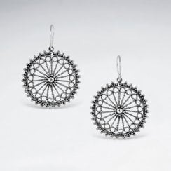 Sterling Silver Textured Filigree Medallion Earrings