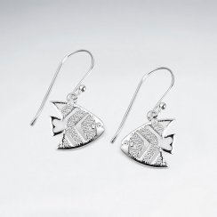 Sterling Silver Textured Fish Dangle Earrings