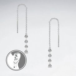 Sterling Silver Threader Earrings with Cubic Zirconia