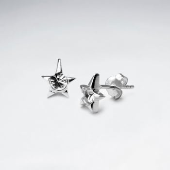 Sterling Silver Tiny Stars CZ Stud Earrings