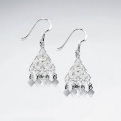 Sterling Silver Triangle Hook Ornate Disc Drop Dangle Earrings