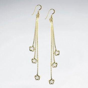 Sterling Silver Triple Dangle Star Earrings