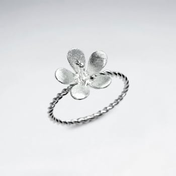 Sterling Silver Twist Band Flower Ring