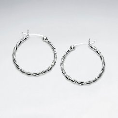 Sterling Silver Twist Textures Hoop Earrings