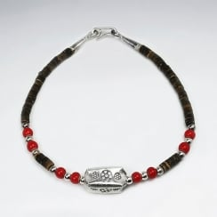 SterlingVsilver Charm Coconut & Red Glass Bead Bracelet