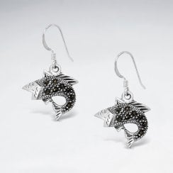 Stirling Silver Marcasite Fish Hook Earrings
