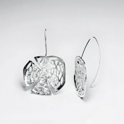 Stunning Cracked Filigree Sterling Silver Round Dangle Brushed Drop Earrings