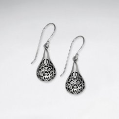 Stunning Filigree Oxidized Silver Rounded Teardrop Dangle Hook Earrings