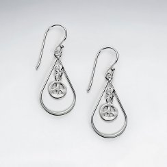 Stunning Open Teardrop Charm Accent Dangle Drop Hook Earrings