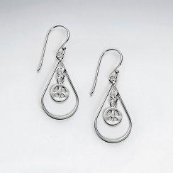 Stunning Open Teardrop Charm Accent Dangle Drop Hook Earrings