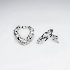 Stunning Polished Silver Textured Crinkle Design Open Heart Stud Drop Earrings