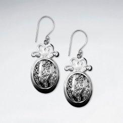 Stunning Rosebud Oval Earrings in Detailed Oxidized Silver