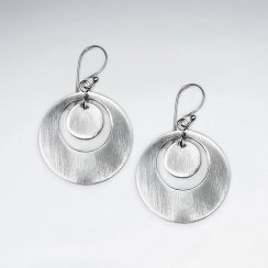 Stunning Silver Circle-in-Circle Earrings
