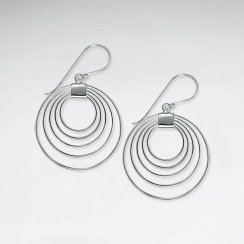 Stunning Silver Quadruple Tiered Hoop Hook Earrings