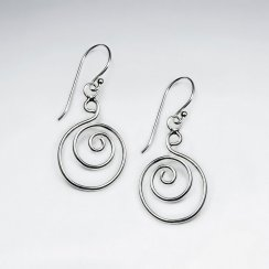 Stunning Sterling Silver Swirl Hook Earrings