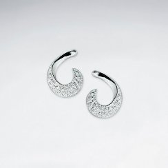 Stunning Sterling Silver Swoop Hook Cubic Zerconia Stud Earrings