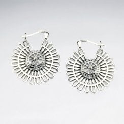 Sunburst Medallion Openwork Sterling Silver Earrings