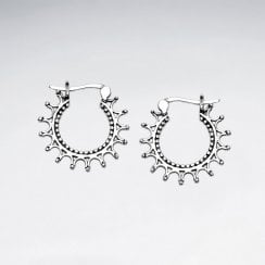 Sunburst Sterling Silver Bali Hoop Earrings