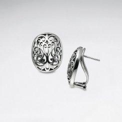 Sweet Oval Filigree Oxidized Silver Earrings