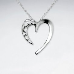 Swoop Open Heart Polished Silver Pendant