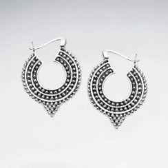Textured Balinese Sterling Silver Hoop Earrings