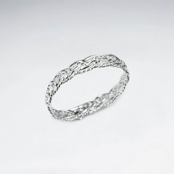 Textured Braided Weave Ring in Sterling Silver