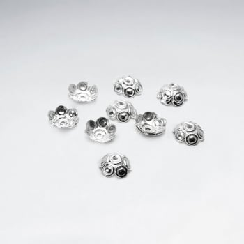 Textured Imprinted Rounded Sterling Silver Bead Caps Pack Of 50 Pieces