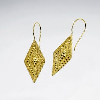 Textured Marquis Gold Tone Sterling Silver Earrings