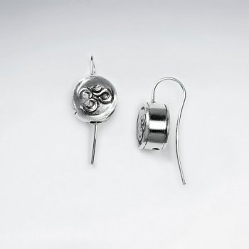 Textured Oxidized Button Drop Earrings