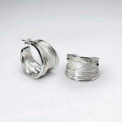 Textured Silver Feather Style Half Hoop Earrings