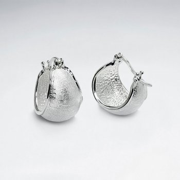 Textured Silver Wide Small U Hoop Earrings