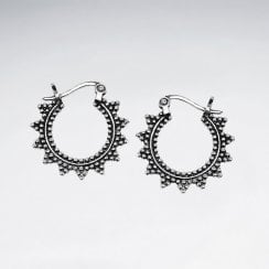 Textured Sunburst Sterling Silver Hoop Earrings