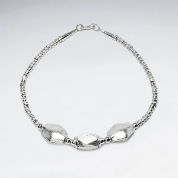 Thai Hand Made Silver Bracelet With Faceted Marquis Bead