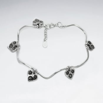 Thai Hand Made Silver Bracelet With Heart Charm
