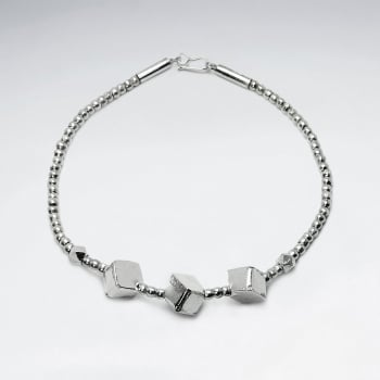 Thai Hand Made Silver Bracelet With Squared Beads