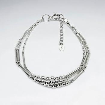 Thai Hand Made Silver Bracelet With Triple Strand Gradual Ball Bead Adjustable