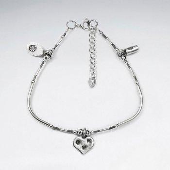 Thai Handmade Sterling Silver Accented Charm Bracelet