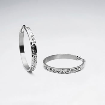 Thin Stainless Steel Crystal Hoop Earrings