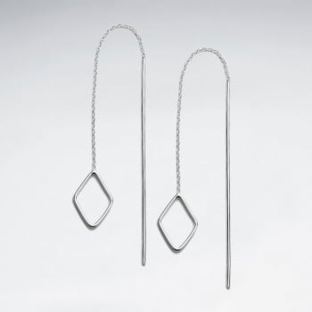 Threader Style Sterling Silver Openwork Marquis Earrings