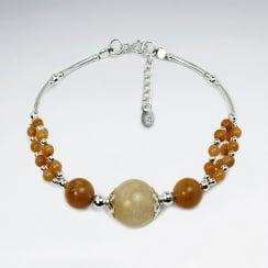 Topaz Jade & Sterling Silver  Gradual Ball Bead Bracelet
