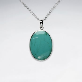 Traditions Oval Turquoise & Silver Pendant
