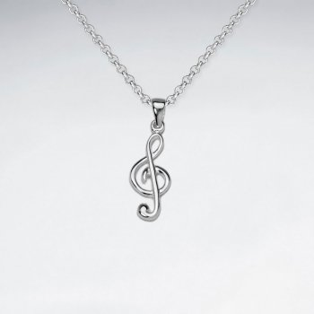 Treble Clef Musical Note Sterling Silver Pendant