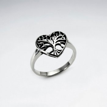 Tree of Life Heart Ring in Sterling Silver