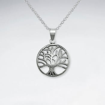 Tree Of Life Oxidized Silver Pendant
