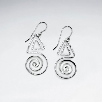 Triangle and Swirl Dangle Sterling Silver Earrings